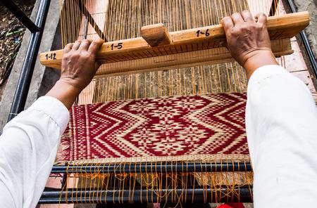 floor mat: Traditional Thai style  floor mat making . Stock Photo
