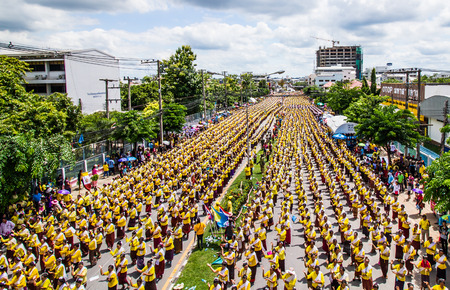 mahasarakham: MAHASARAKHAM,THAILAND-AUGUST 22 : 40,000 Thai dancer performancing to celebration 150 year of Mahasarakham  on August 22,2015.Mahasarakham is the province of Thailand. Editorial