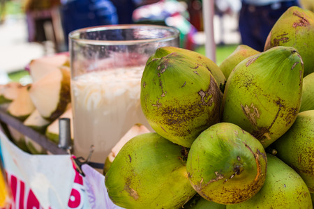 spacial: Coconut juice avalable for customer . Stock Photo