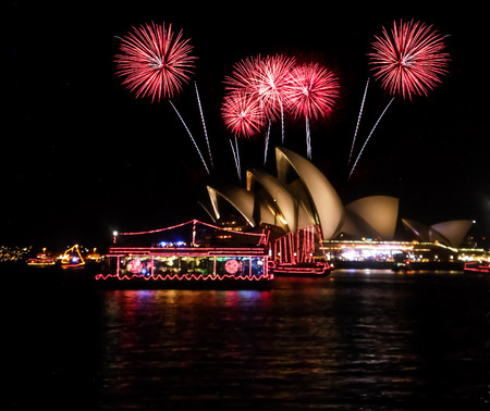 opera: SYDNEY,AUSTRALIA-JANUARY 1:Firework show at Sydney opera house on January 1,2015.Opera house is one of the most popular place to countdown.