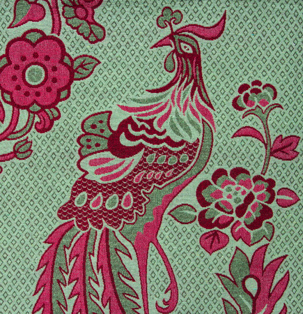 fibra: Peacock pattern fabric  close up background.