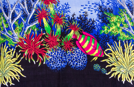 gorgonian sea fan: Under sea life print fabric.