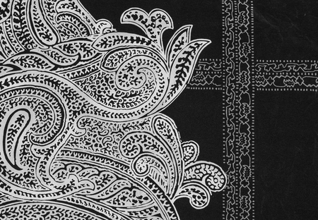 mongoloid: Indian style fabric close up background. Stock Photo