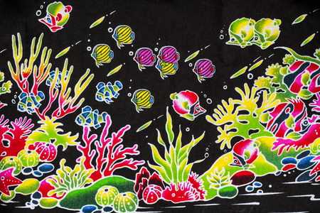 gorgonian sea fan: Colorful sea life fabric background.