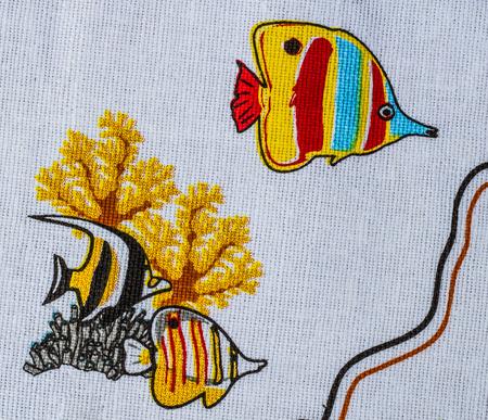 nowhere: Colorful sea life print fabric.