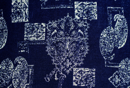 aborigin: Aborigin tribe holding boomerang print fabric.