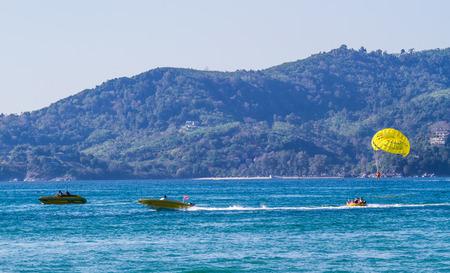water sport: Phuket,Thailand-February 25 : People enjoy water sport  at  Patong beach in Phuket,Thailand on February 25,2015.Patong beach very popular for water sport.