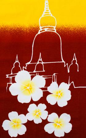 pagoda: Flower and pagoda print fabric. Stock Photo