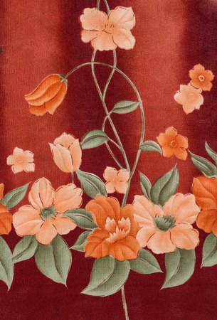 single flower: Flower print fabric close up background.