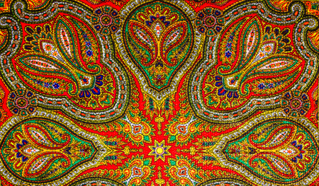 native culture: Colorful Indian pattern  fabric background. Stock Photo