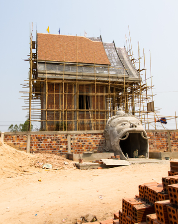 constructing: Buddhist temple building in constructing. Stock Photo