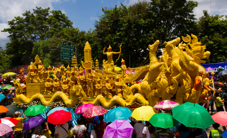 UBON RACHATANEE, THAILAND - JULY 20 : Thai candle festival parade at Ubon Rachatanee on July 20,2016 .Candle festival happen on Buddhist lent day.