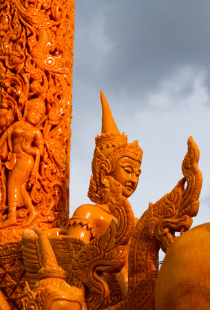 The art of carved candles, Thai candle festival of buddha (The Buddhist Lent Day) Editorial