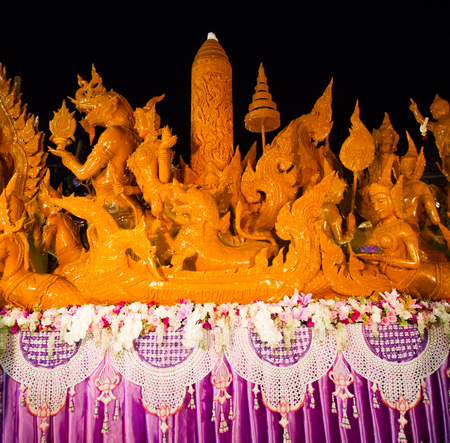 UBON RACHATANEE, THAILAND - JULY 19 : Thai candle festival parade at Ubon Rachatanee on July 19,2016 .Candle festival happen on Buddhist lent day.