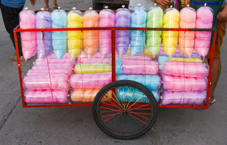 lolli: Colorful sweet dessert  look like cotton in plastic bag  .