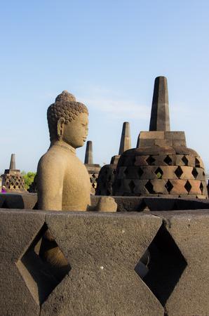 Buddha image of Borobudur in Yogyakarta,Indonesia.