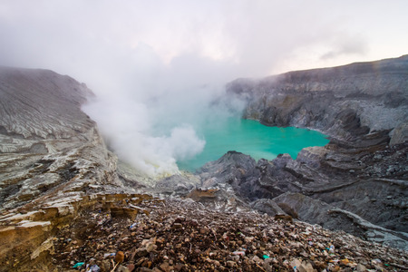 bowels: Kawah Ijen sulfer lake in Java island,Indonesia.