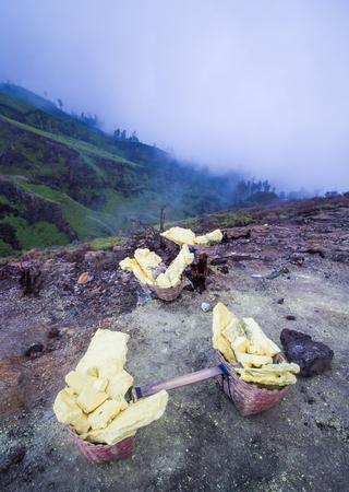 Sulfur carriers basket at Kawah Ijen, Indonesia Stock Photo