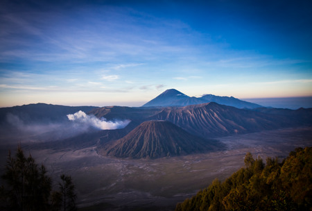 Mount Bromo volcano, the magnificent view of Mt. Bromo located in Bromo Tengger Semeru National Park, East Java, Indonesia. Stock Photo