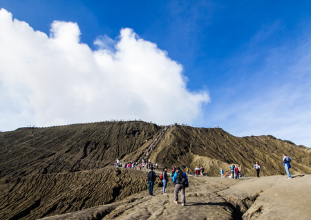 EAST JAVA, INDONESIA - AUGUST 25: Tourist walking  to   Mount Bromo volcano on August 25,2016 in East Java, Indonesia. Editorial
