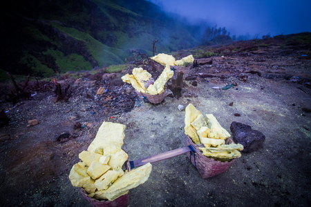 sulphuric acid: Sulfur carriers basket at Kawah Ijen, Indonesia Stock Photo