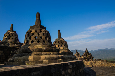 YOGYAKARTA: Stupas at Borobudur in Yogyakarta,Indonesia.