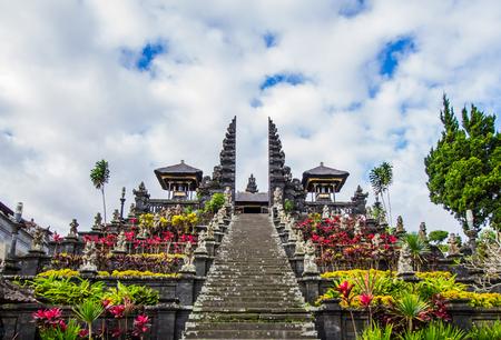 Stairway to Pura Besakih in Bali,Indonesia. Stock Photo