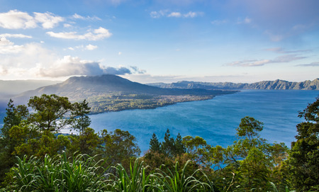 Landscape view of volcano mount and lake Batur located in Kintamani area in Bali, Indonesia