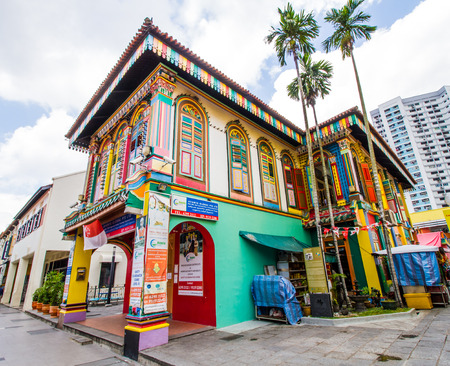 SINGAPORE-AUGUST 31:Colorful facade of building  in Little India, Singapore on August 31,2016. Little India is an ethnic neighborhood in Singapore that has Tamil cultural elements and aspects. Colorful urban concept