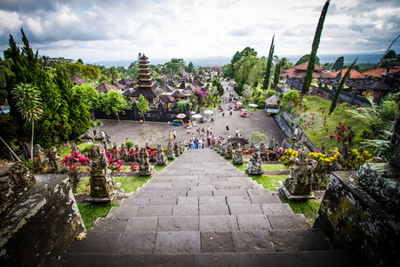 BALI,INDONESIA - AUGUST 19: Tourist visiting  Pura Besakih  on August 19, 2016 in Bali, Indonesia.The other name of Pura Besakih is Mother temple.
