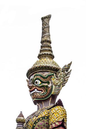 far eastern: Thai style giant statue on white background. Stock Photo