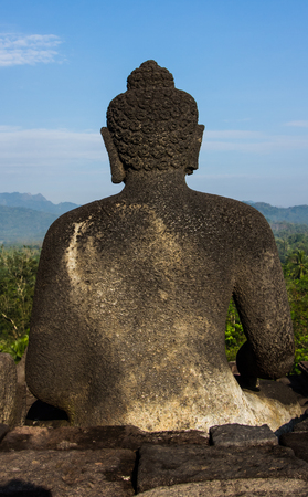 YOGYAKARTA: Behind of Buddha image at Borobudur in Yogyakarta,Indonesia.