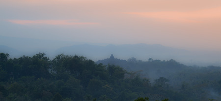 borobudur: Borobudur sunrise view from Setumbu Hill. Stock Photo