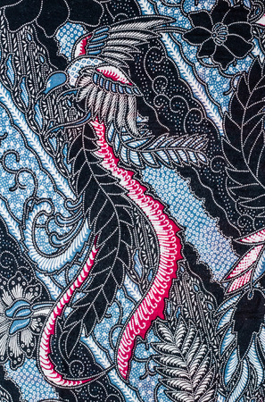 Abstract  bird print fabric close up background.
