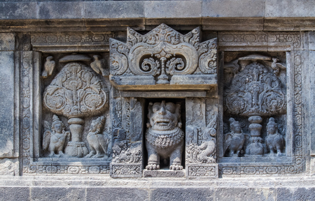 stone carvings: Stone carvings in Prambanan temple. Stock Photo