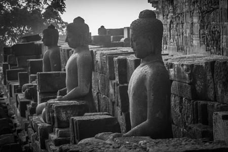 YOGYAKARTA: Buddha images of Borobudur in Yogyakarta,Indonesia.