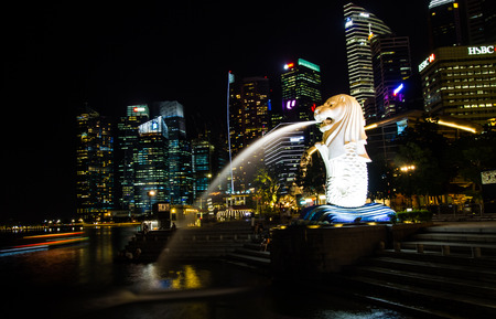 SINGAPORE-AUGUST 30 : View of  Merlion and the building  beside Marina bay on August 30,2016. Marina bay is tourist attraction area in Singapore.