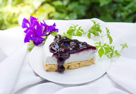 summer pudding: Slice of blueberry cheese pie.