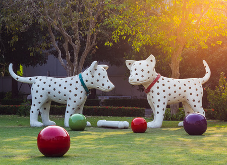 attic: Dog statues in the garden.