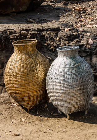 Gold and silver bamboo baskets.