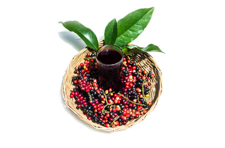 Sweet and sour local Thai fruit  Antidesma thwaitesianum juice. Stock Photo