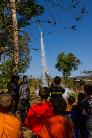 SAVANNAKHET,LAOS-MARCH 10 :Rocket going to the sky after shot it from the base in Rocket festival on March 10,2018.This event for celebrate raining season. Editorial