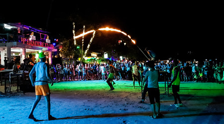 SURAT THANI,, THAILAND-NOVEMBER 22, 2018:Tourist enjoy Full moon party all night at Haad Rin beach in Phangan island,Surat Thani,Thailand.This party will happen every month in the full moon day.