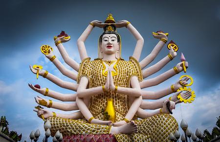 Guanyin statue at Wat Plai Laem temple in Koh samui,Thailand Фото со стока