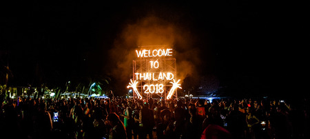 PHANGAN ISLAND,SURAT THANI,, THAILAND-NOVEMBER 22, 2018:Tourist enjoy Full moon party all night at Haad Rin beach in Phangan island,Surat Thani,Thailand.This party will happen every month in the full moon day.