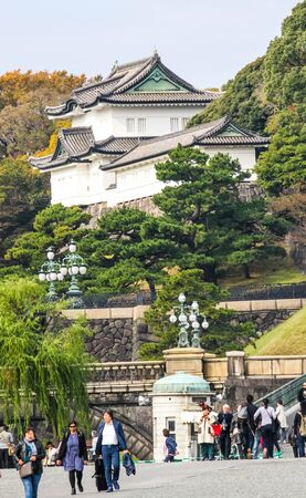 TOKYO, JAPAN - NOVEMBER 19, 2019: Tourist visit Imperial palace in Tokyo,Japan .This place is one of tourist attraction in Tokyo.