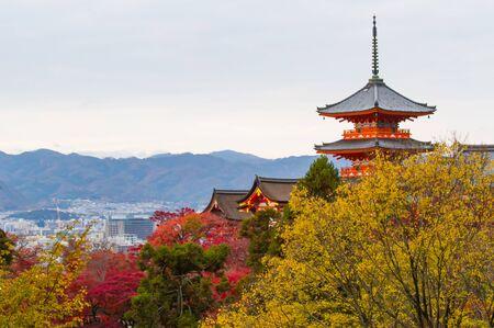 Autumn color at Kiyomizu-dera temple ,Kyoto.