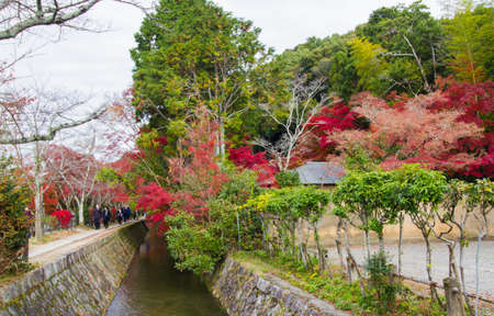 KYOTO,JAPAN-NOVEMBER 27,2019:Visitors visiting  Philosopher's Path in autumn, Kyoto. This path get it name due to Nishida Kitaro,one of Japan's most famous philosophers,who was said to practice meditation while walking here.