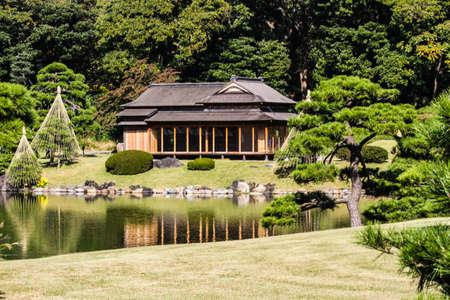 Hamarikyu garden in Tokyo,Japan. Imagens