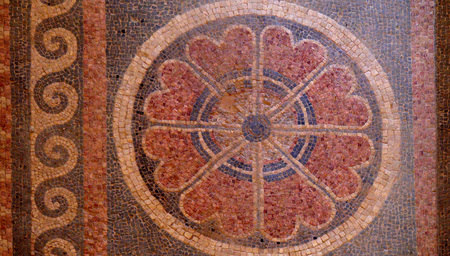 second floor: Fragment of an ancient geometrical colorful floor mosaic in Herod`s Palace, Massad, Israel. The mosaic room contained steps that led to a second floor with separate bedrooms for the king and queen.